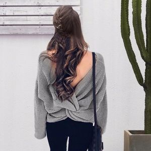 Sweaters - Twisted Open Knot Back Knit V Neck Sweater Grey